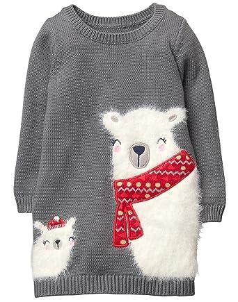 384145b3a Amazon.com: Gymboree Girls' Toddler Polar Bear Sweater Shift Dress ...