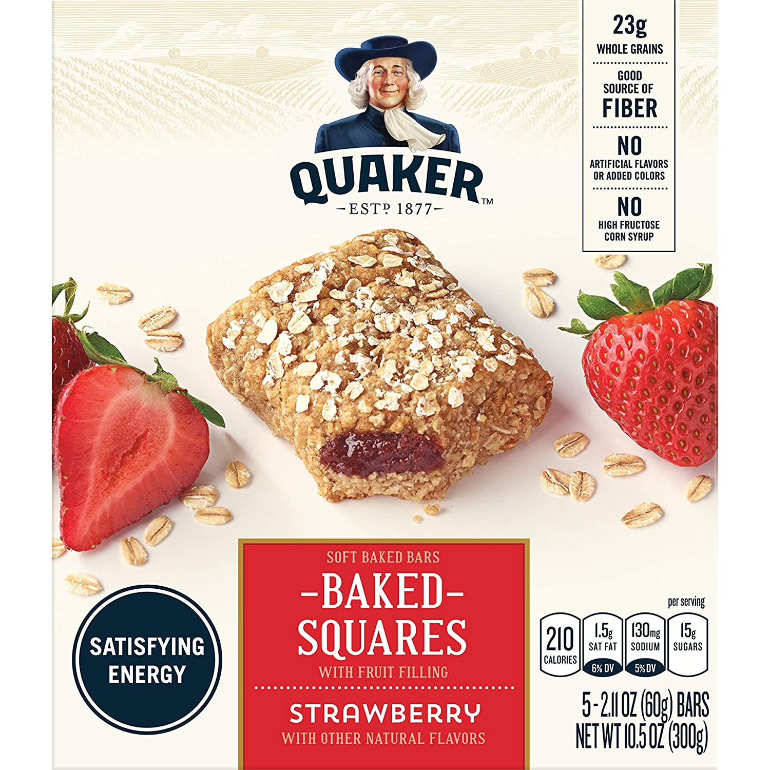 Quaker Baked Squares, Soft Baked Bars, Strawberry, 5 Bars