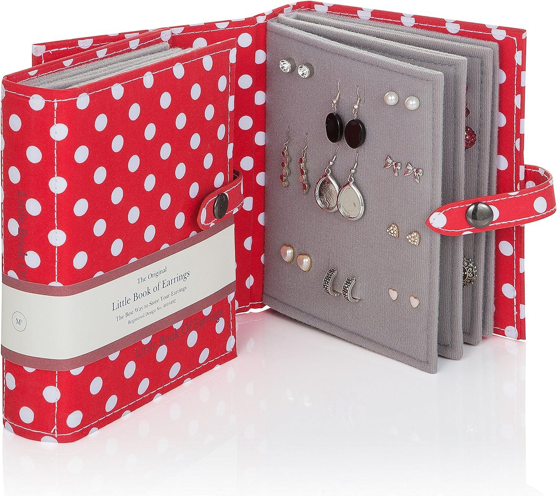 Book of Earrings - Joyero para pendientes, diseño en forma de libro con lunares, color blanco y rojo