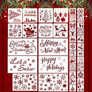 38 Pieces Christmas Stencils Template Christmas Painting Stencils Reusable Christmas Snowflake Stencil for Art Drawing Spraying Window Glass Door Wood Journal Scrapbook Holiday Xmas Snowflake Decor
