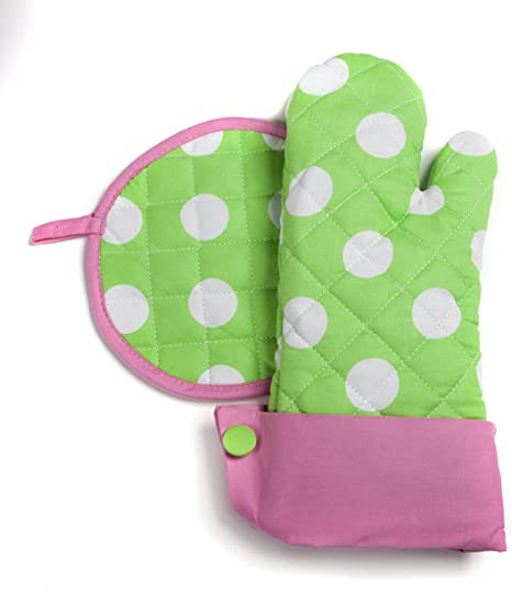 Lime Green Oven Mitt with White Pom Pom Trim and Blue Hand Cut Flowers