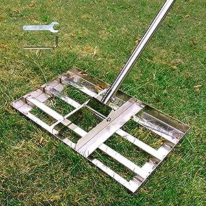SurmountWay Lawn Leveling Rake, 6.5 FT Lawn Leveling Rake with Stainless Steel Pole, Heavy Duty Stainless Steel Lawn Leveler, Suit for Garden Backyard Golf/Lawn(6.5 FT,17 X10In)