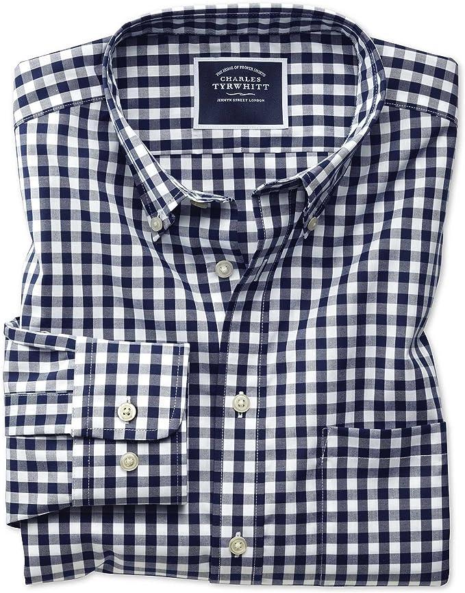 Charles Tyrwhitt Camisa sin Plancha Azul Marino de Popelina y Corte clásico a Cuadros Vichy con Cuello con Botones: Amazon.es: Ropa y accesorios