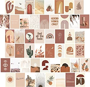 Wall Collage Kit Aesthetic Pictures, YoohNuse Photo Collage Kit for Wall Aesthetic, Trendy Room Decor Photo Prints 4x6, 50pcs Boho Wall Decor, Aesthetic Wall Collage Dorm Decor