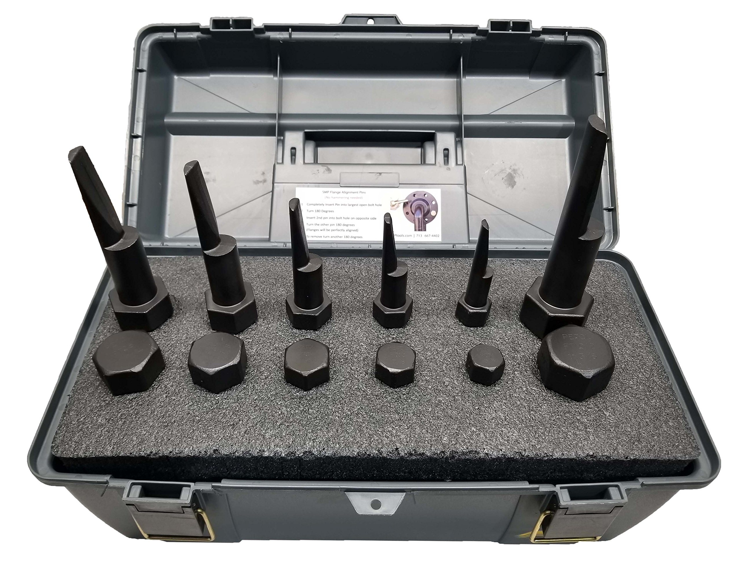 Titan Flange Alignment Pin Set with Case, Contains 2 Units of pin Sizes 3/4'', 7/8'', 1'', 1-1/8'', 1-1/4'',1-3/8''