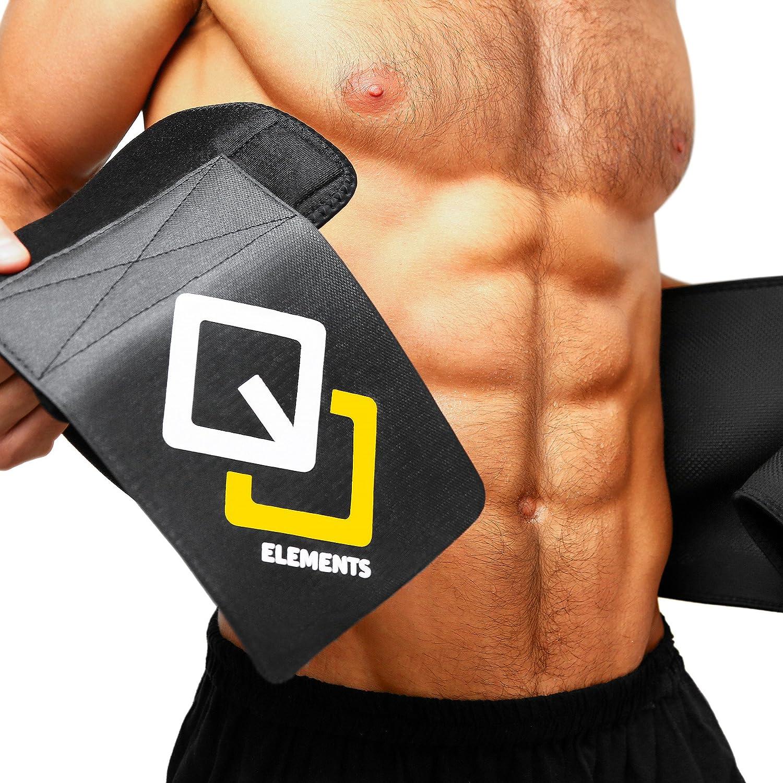 6fdc6b25f2 GJELEMENTS Waist Trimmer Belt Men   Women Free Carry Bag   Weight Loss  Guide - Waist Trainer Sweat Belt - Stomach Slimming Sauna Belt Exercise