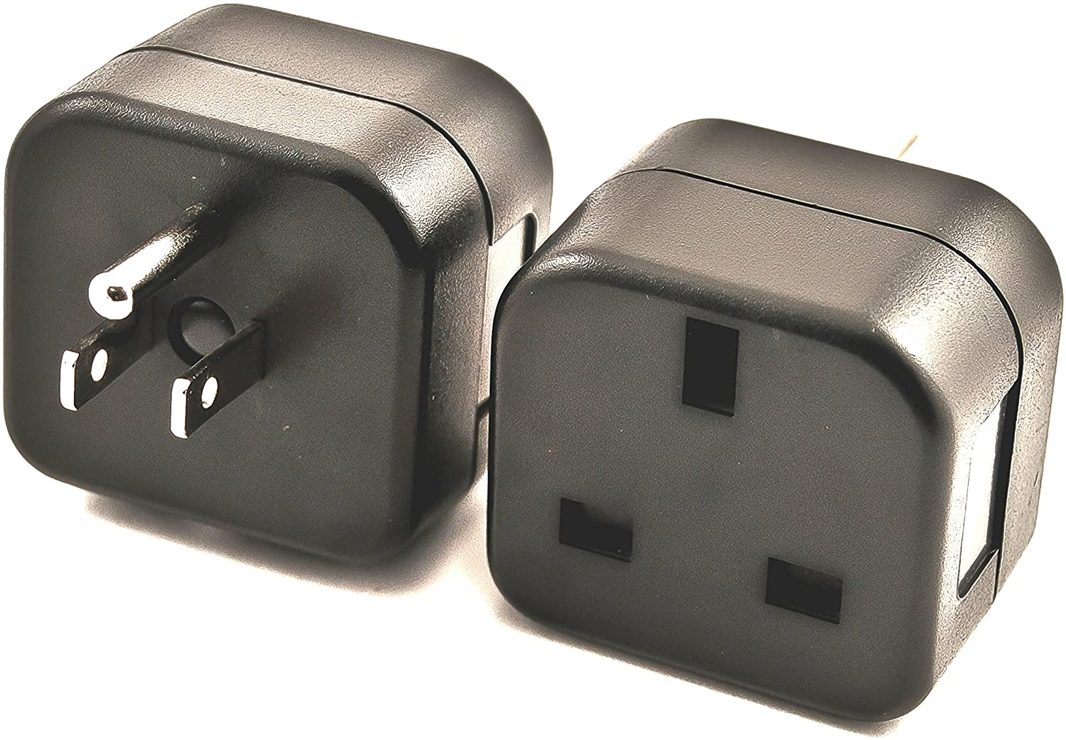 VCT VP18 UK to USA Plug Adapter Converts 3 pin British Plug to 3 Prong Grounded USA Wall Plug,Black