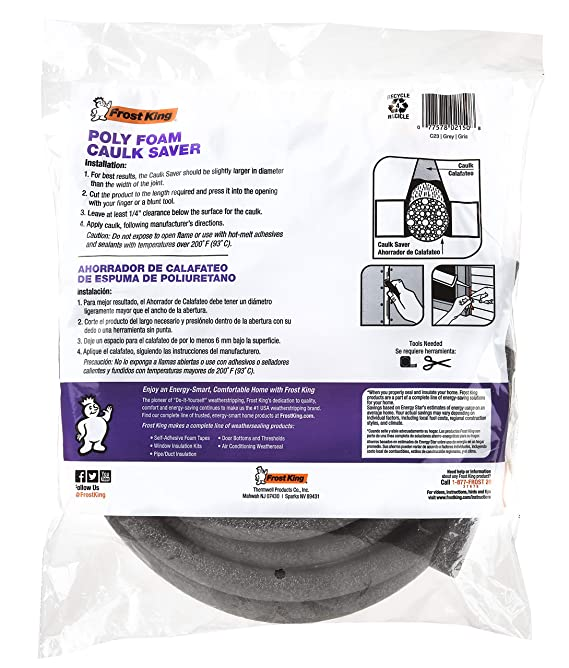 Amazon.com: Frost King C23CP Caulk Saver Bulk Contractor Pack, 5/8 inch Diameter x 150 Long,,, Grey: Home Improvement
