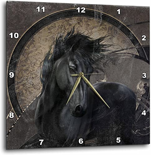 3dRose 3D Rose A Glorious Friesian Horse in Gothic Look-Wall Clock, 13-inch DPP_251976_2