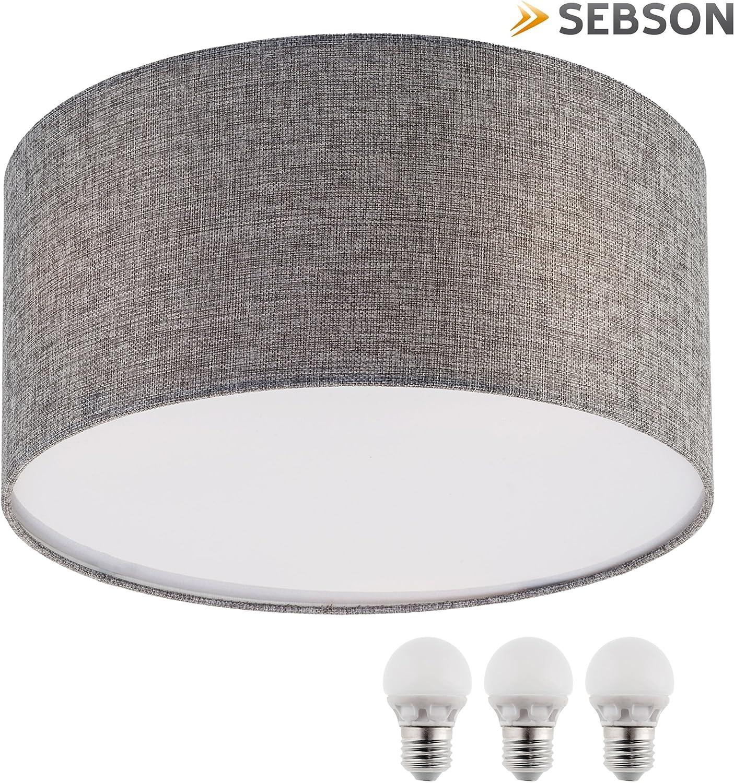 LED Decken-Lampe Stoff Pendelleuchte Wohnzimmer Textil Küche Decken-Hängeleuchte