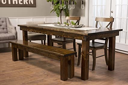 JAMES + JAMES Solid Wood Farmhouse Dining Table (120u0026quot; X 44u0026quot;, ...