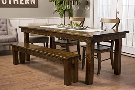Amazon.com - JAMES + JAMES Solid Wood Farmhouse Dining Table ...
