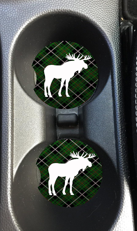 Set of 2 Green Plaid Moose Car Coasters Natural Absorbent Sandstone