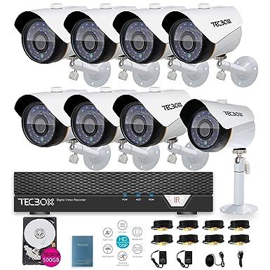 tecbox 8 canal 720P AHD cámara de seguridad en el hogar sistema grabador DVR con 8