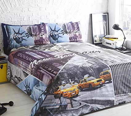 2acad115c21 Image Unavailable. Image not available for. Colour: PIERIDAE New York City  Scene Duvet Bed Quilt Cover Set ...