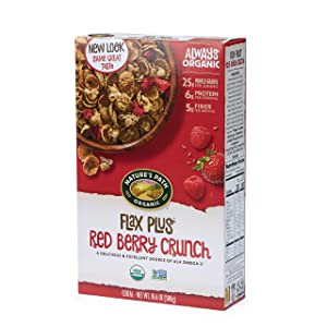 Nature's Path Flax Plus Red Berry Crunch Cereal, Healthy, Organic, 10.6 Ounce Box