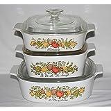 "Set of 3 - Vintage 1970s Corning Ware "" Spice O' Life "" Glass 1 Quart, 1 1/2 Quart & 2 Liter Skillet Casserole Baking Dishes"