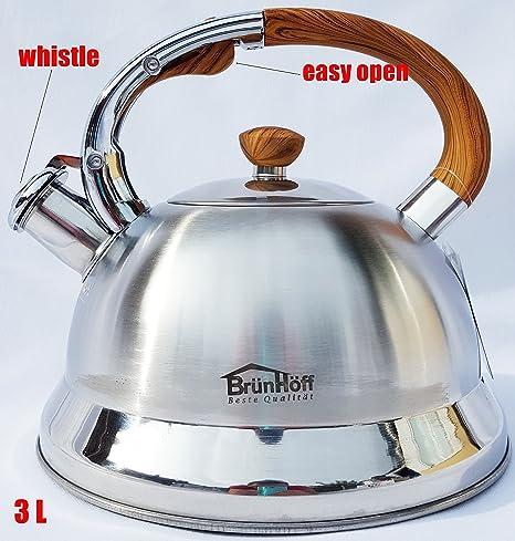 Hervidor de agua 3.0 L acero inoxidable camping plata/marrón ...
