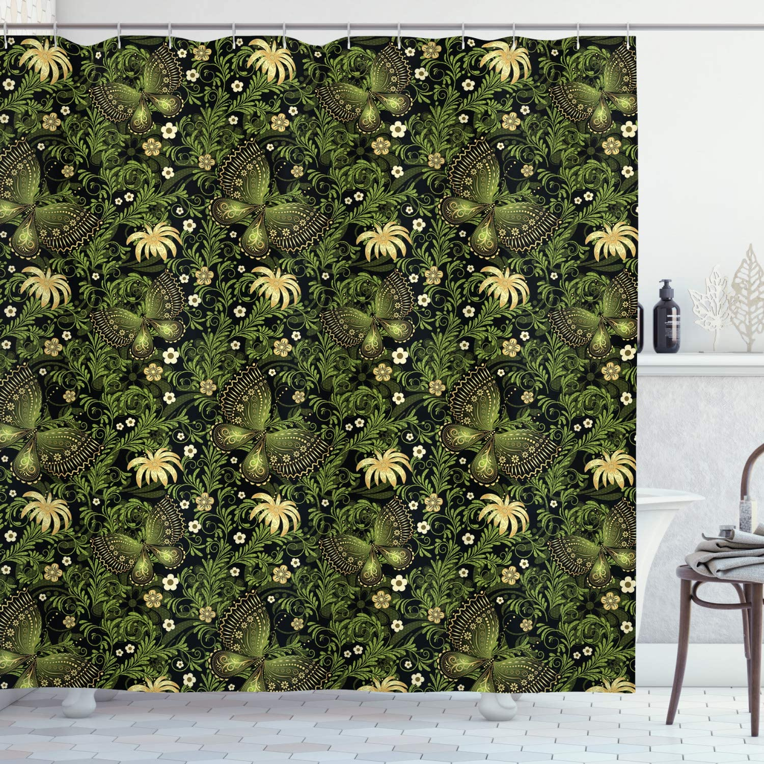 Ambesonne Sage Shower Curtain, Spring Inspired Ornaments Butterflies Little Blossoms Swirled Leaves Vintage, Cloth Fabric Bathroom Decor Set with Hooks, 70