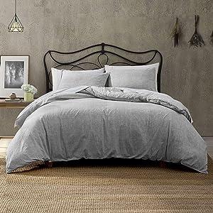 Brielle Callan 100% Cotton Texture Printed Comforter Set, Grey, Full/Queen