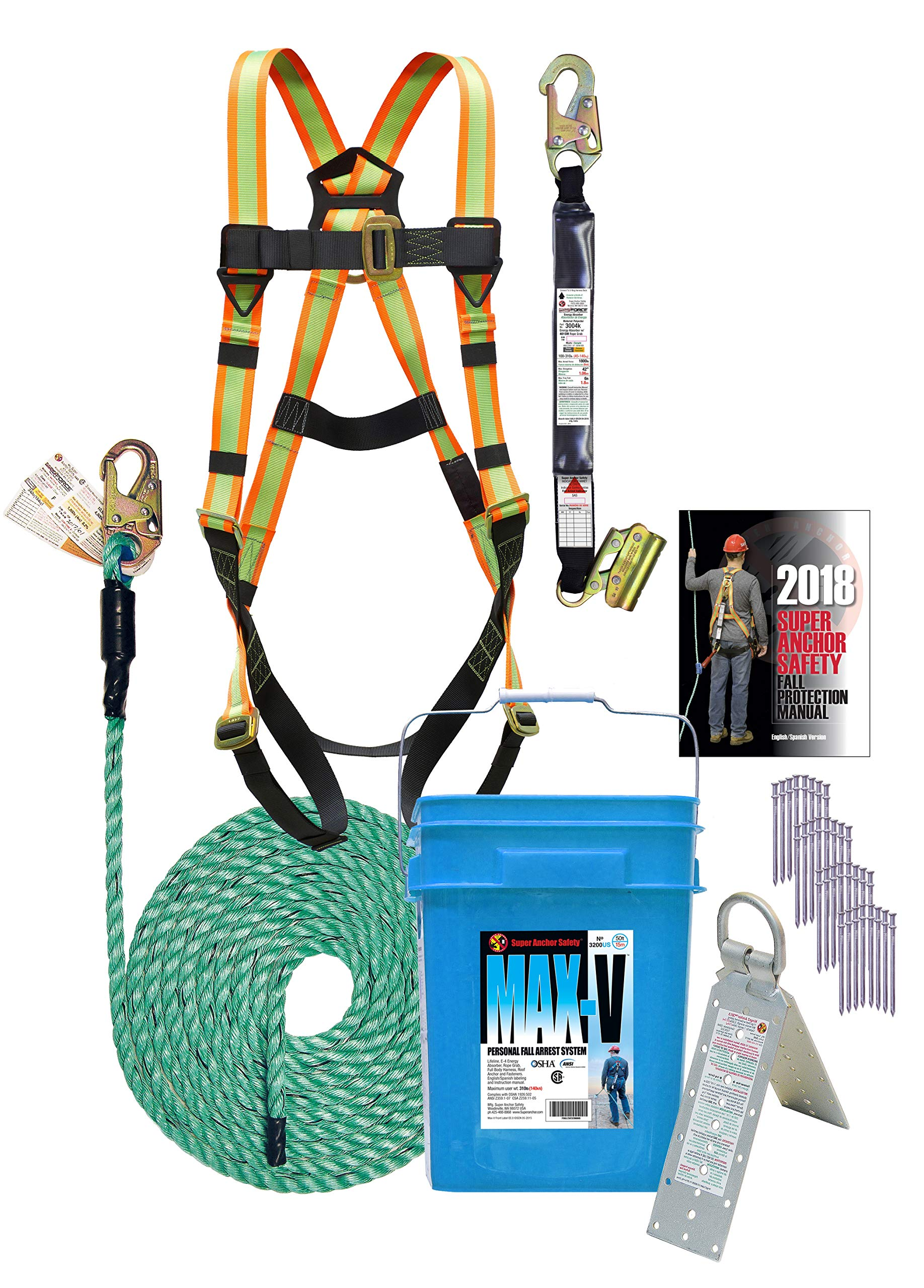 Super Anchor Safety 3200-USA MAX-V Fall Protection Kit, 50' by Super Anchor Safety