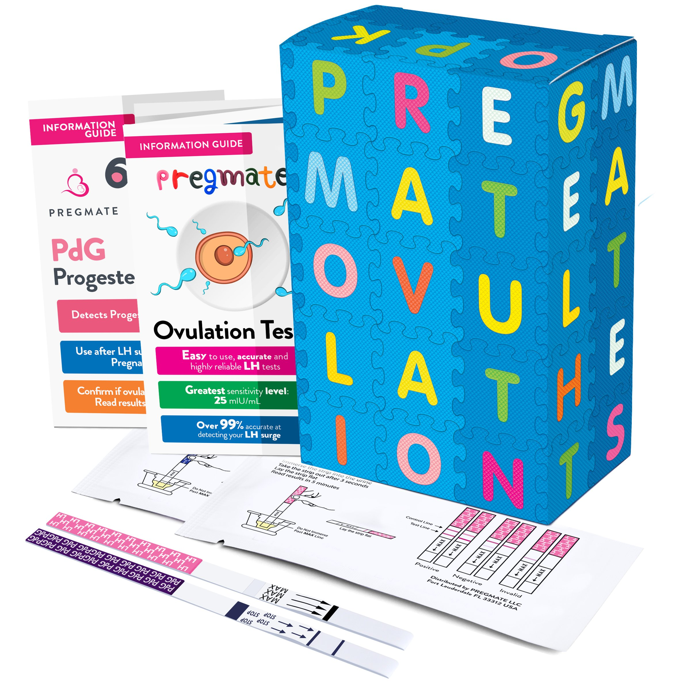 PREGMATE 25 Ovulation (LH) and 3 Progesterone (PdG) Urine Test Strips At Home Fertility Confirmation Predictor Kit (25 LH + 3 PdG)
