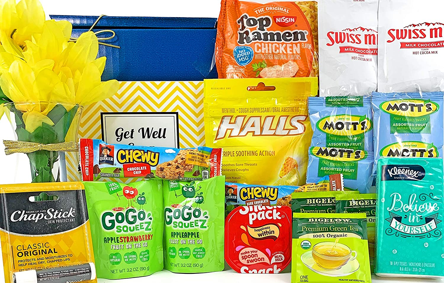 Get Well Gift Box Basket II - For Cold/Flu/Illness - Over 2.5 Pounds of Care, Concern, and Love - Great Care Package - Send a Smile Today!