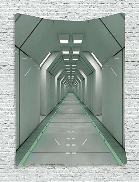 Futuristic Tapestry By Ambesonne Sci Fi Corridor Inside Space Station Ship Laboratory Technology Fiction