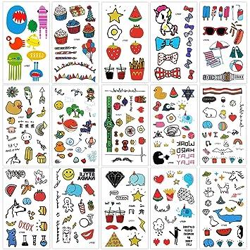 Tatuaje temporale para niños (15 hojas), Konsait 250+ dibujos ...