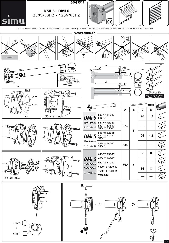 Simu T5 50//12 Rolladenmotor Rollladen Antrieb Motor Jalousie Rohrmotor SW60