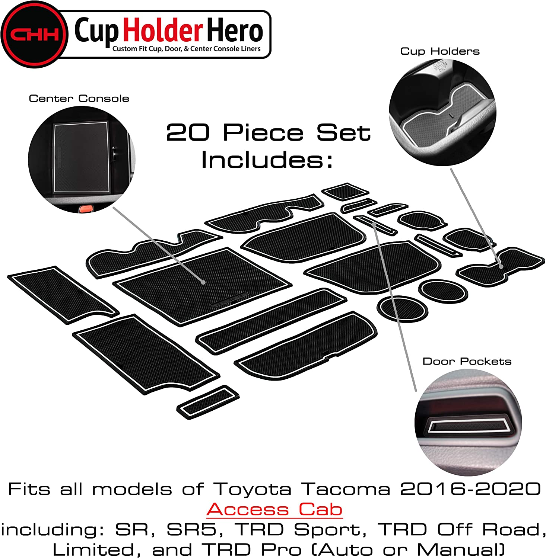 Door Pocket Liners 20-pc Set Gray Trim Access Cab Center Console Liner Mats CupHolderHero for Toyota Tacoma Accessories 2016-2021 Premium Custom Interior Non-Slip Anti Dust Cup Holder Inserts