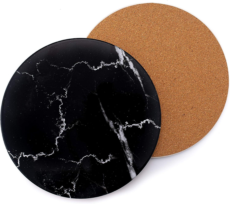 NASEMA KITCHEN 2-Piece Ceramic Trivet for Hot Pot and Pans, Heat Resistant Trivet with Cork Base, Trivets (7.8-Inches, Black Marble)