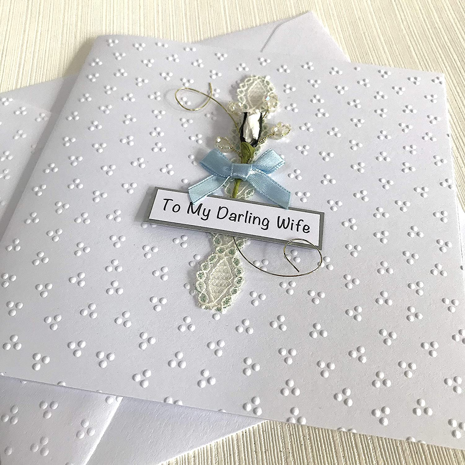 For Wife Handmade Card with Rose For Her Free Personalisation Happy Birthday Wife Personalised Birthday Card for Wife