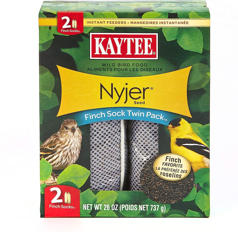 Kaytee Wild Bird Food Nyjer Seed Finch Sock Twin Pack Instant Feeder 26oz: Pet Supplies
