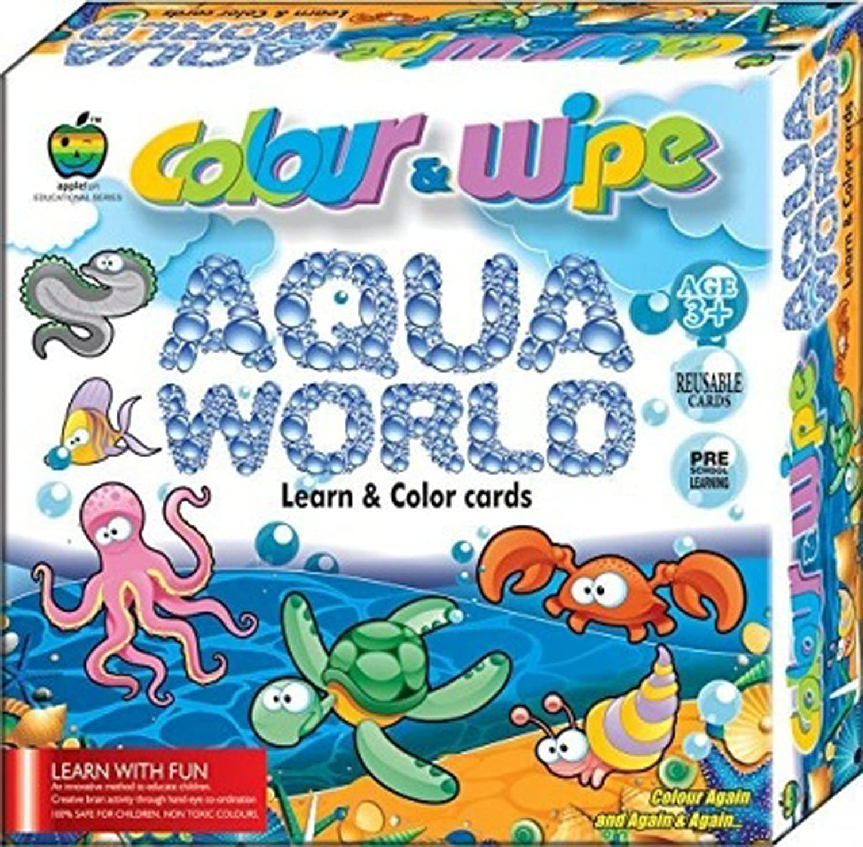 Buy Lotus Applefun Colour & Wipe Aqua World Learn & Color Cards ...