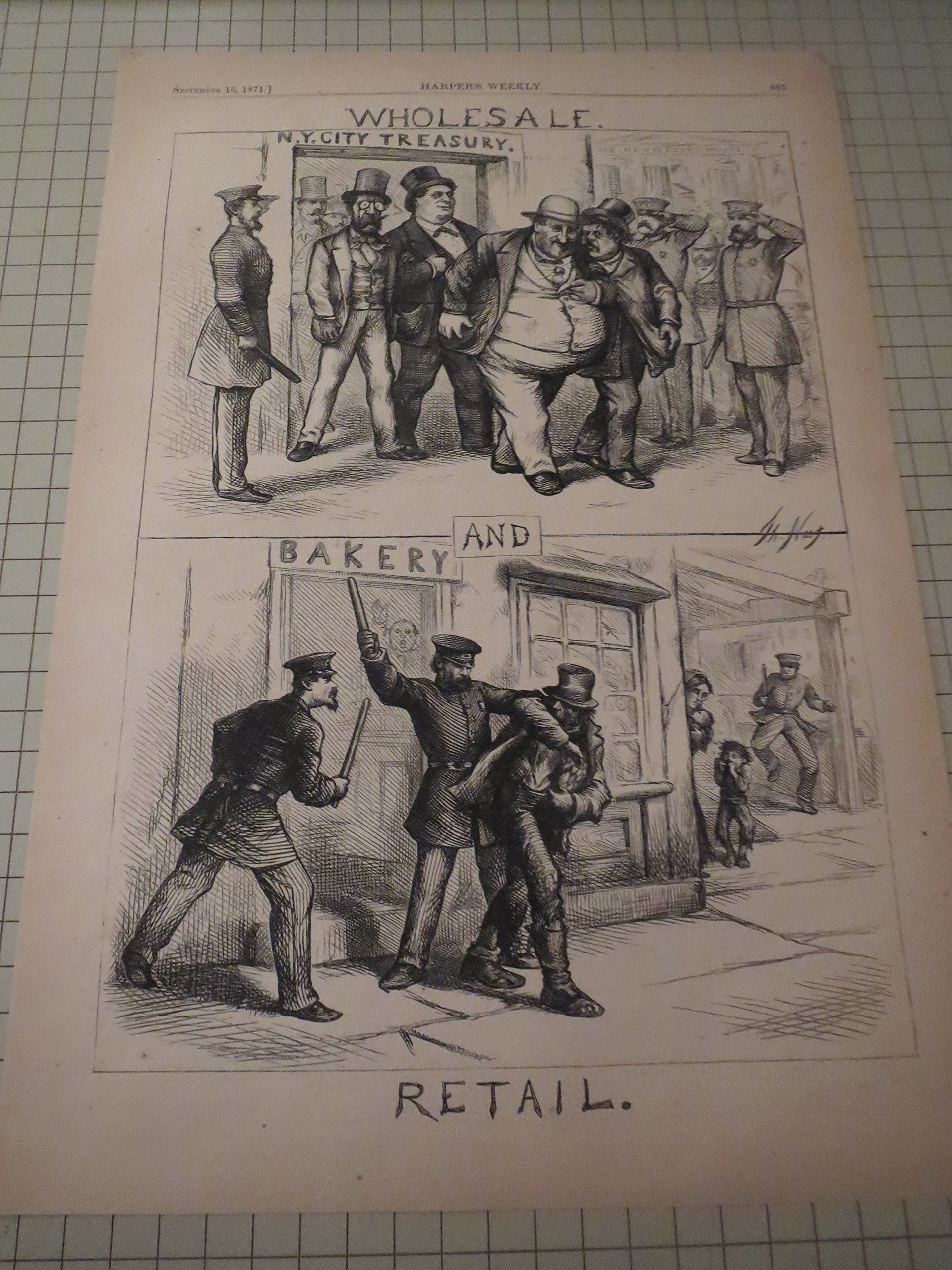 1871 Hw Thomas Nast Engraving Of 19th Century Justice