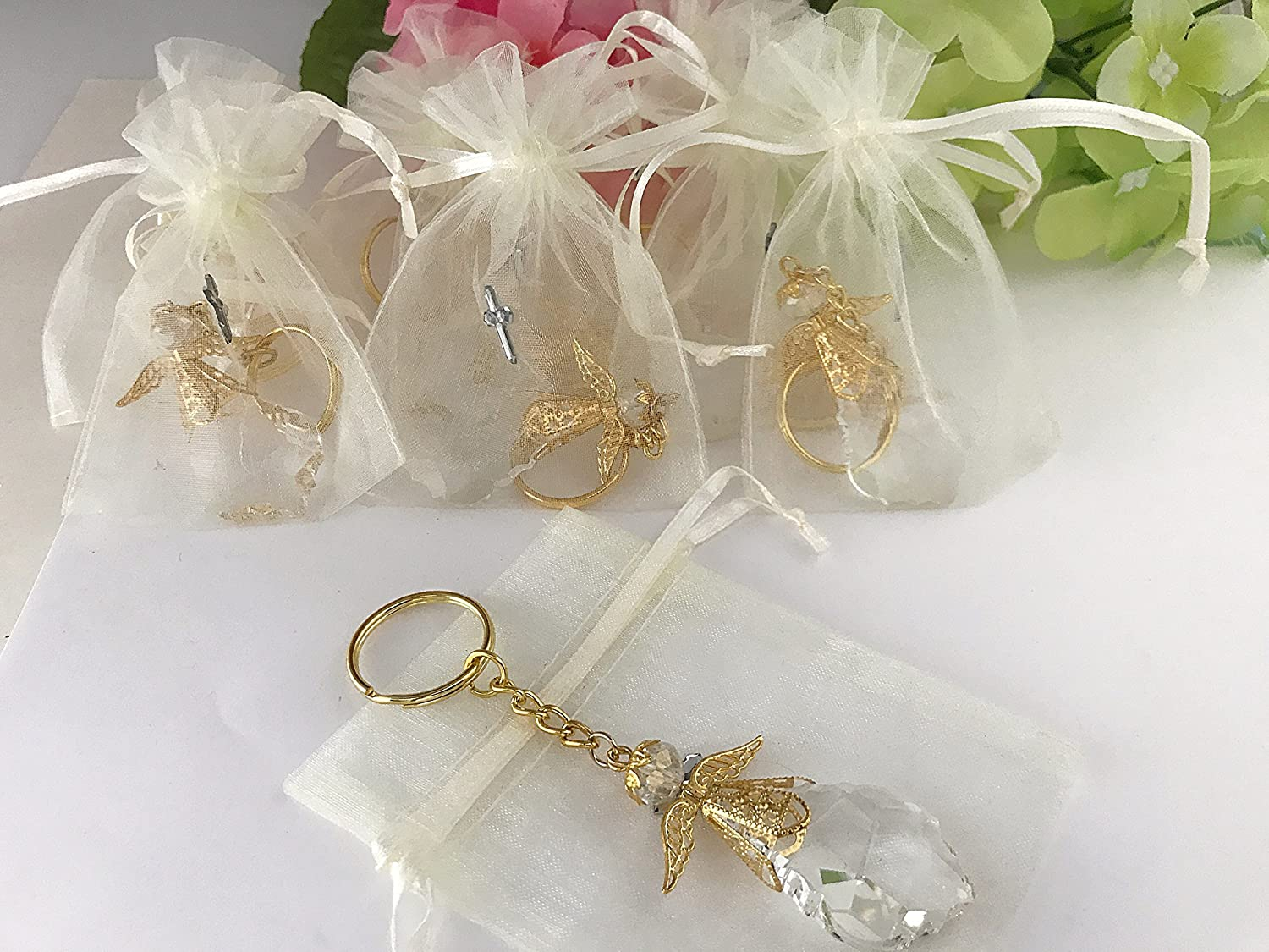 Amazon.com: 15 crystal angel Keychains for Baptism favors/party ...