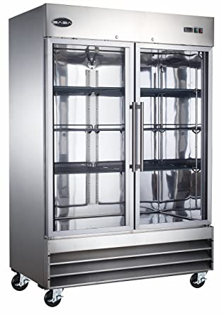 Heavy Duty Commercial Stainless Steel Glass Door Reach In Refrigerator  (47u0026quot; Two Glass