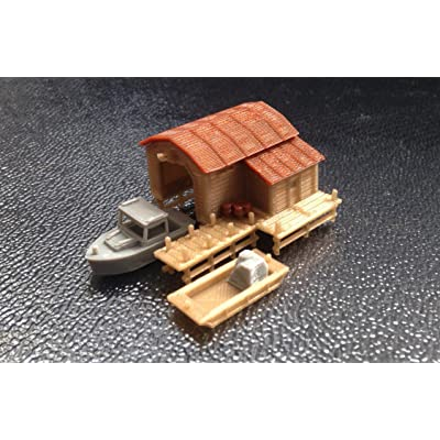 Outland Models Train Railway Scenery Boathouse with Boat and Pier N Scale 1:160: Toys & Games