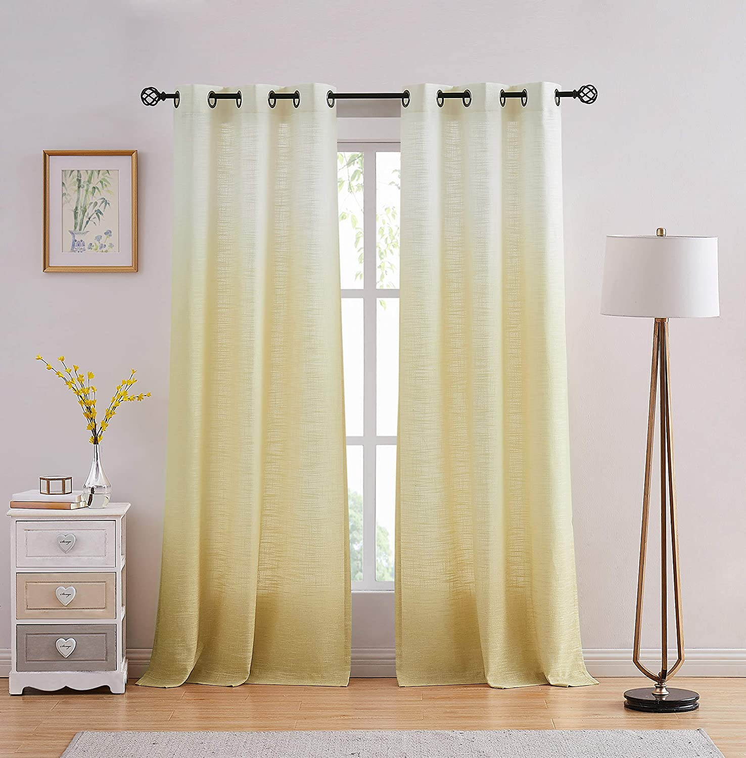 """Central Park Ombre Window Curtain Panel Linen Gradient Print on Rayon Blend Fabric Drapery Treatments for Living Room/Bedroom, Cream White to Yellow/Light Gold, 40"""" x 84"""", Set of 2"""