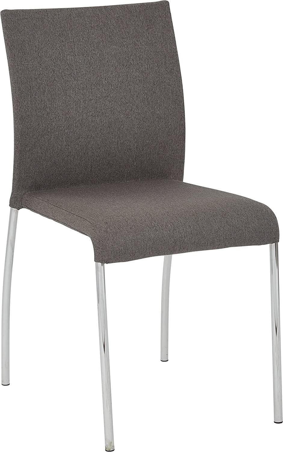 AVE SIX Conway Upholstered Stacking Chair with Chrome Legs, 4-Pack, Smoke