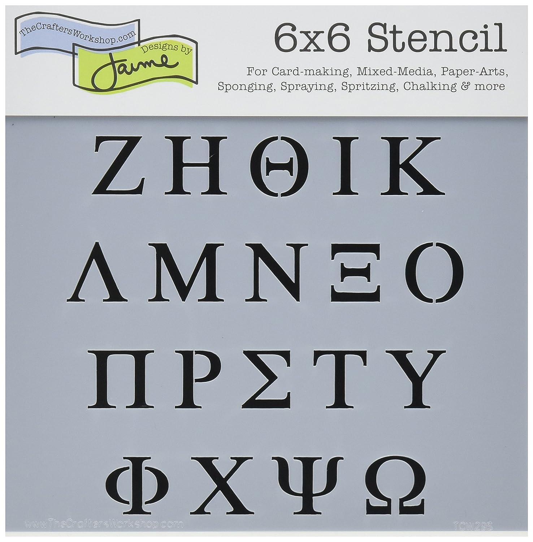 Amazon Com Crafters Workshop Tcw6x6 29 Templates 6 X6 Greek Letters