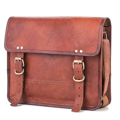 0e1073d551afa Berliner Bags York M Umhängetasche Messenger 12 13 Zoll Laptoptasche Ledertasche  Vintage Braun Herren Damen Mittel