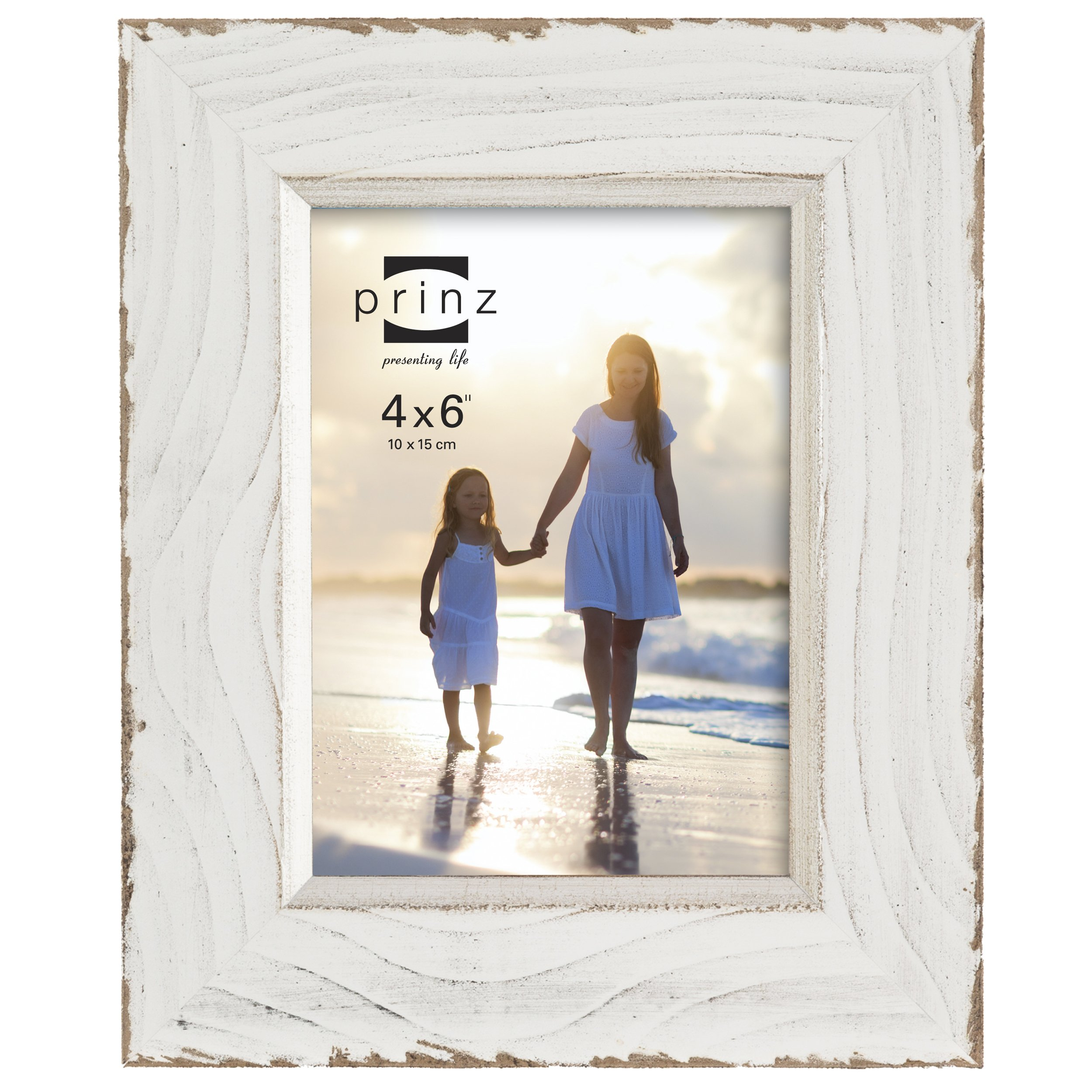 PRINZ Clearwater Distressed Wood Frame with Gilded Border, 4 by 6-Inch, White