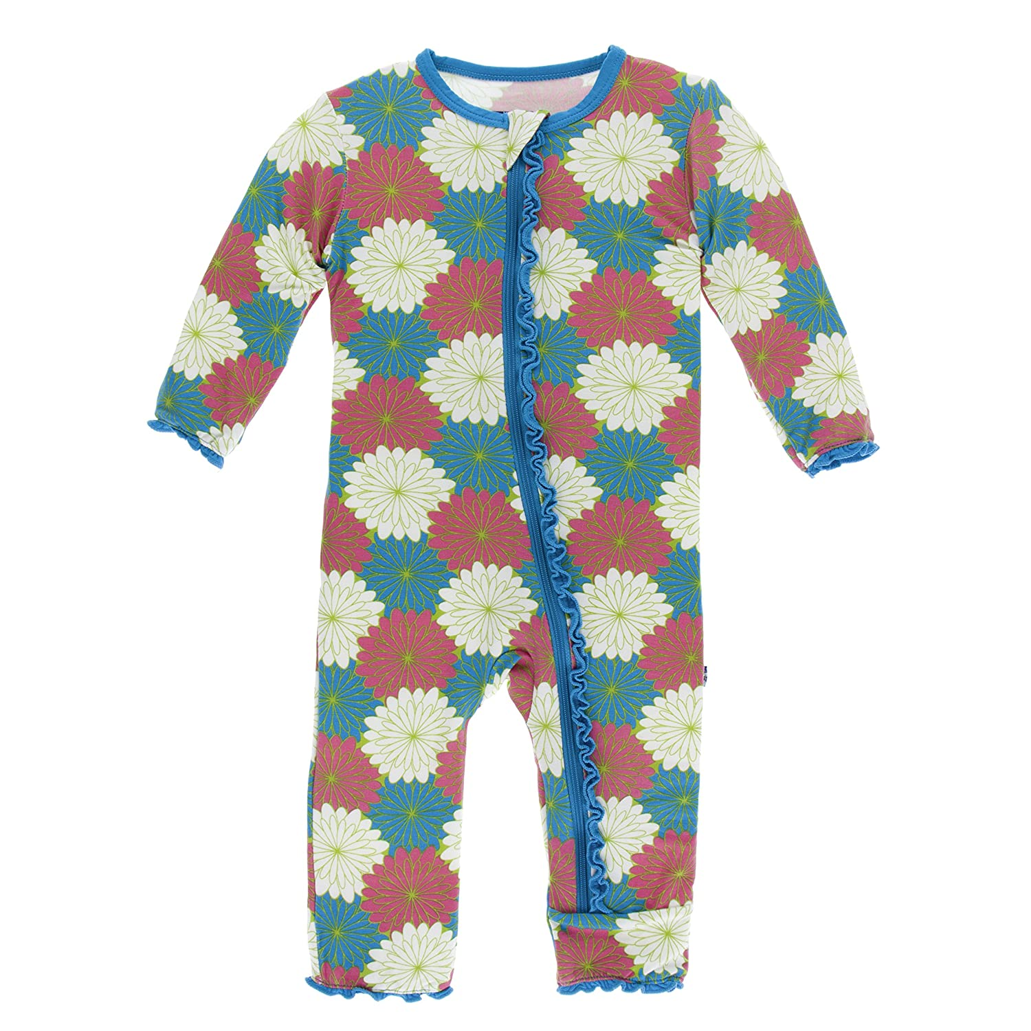 Kickee Pants Print Muffin Ruffle Coverall with Zipper in Tropical Flowers 4T