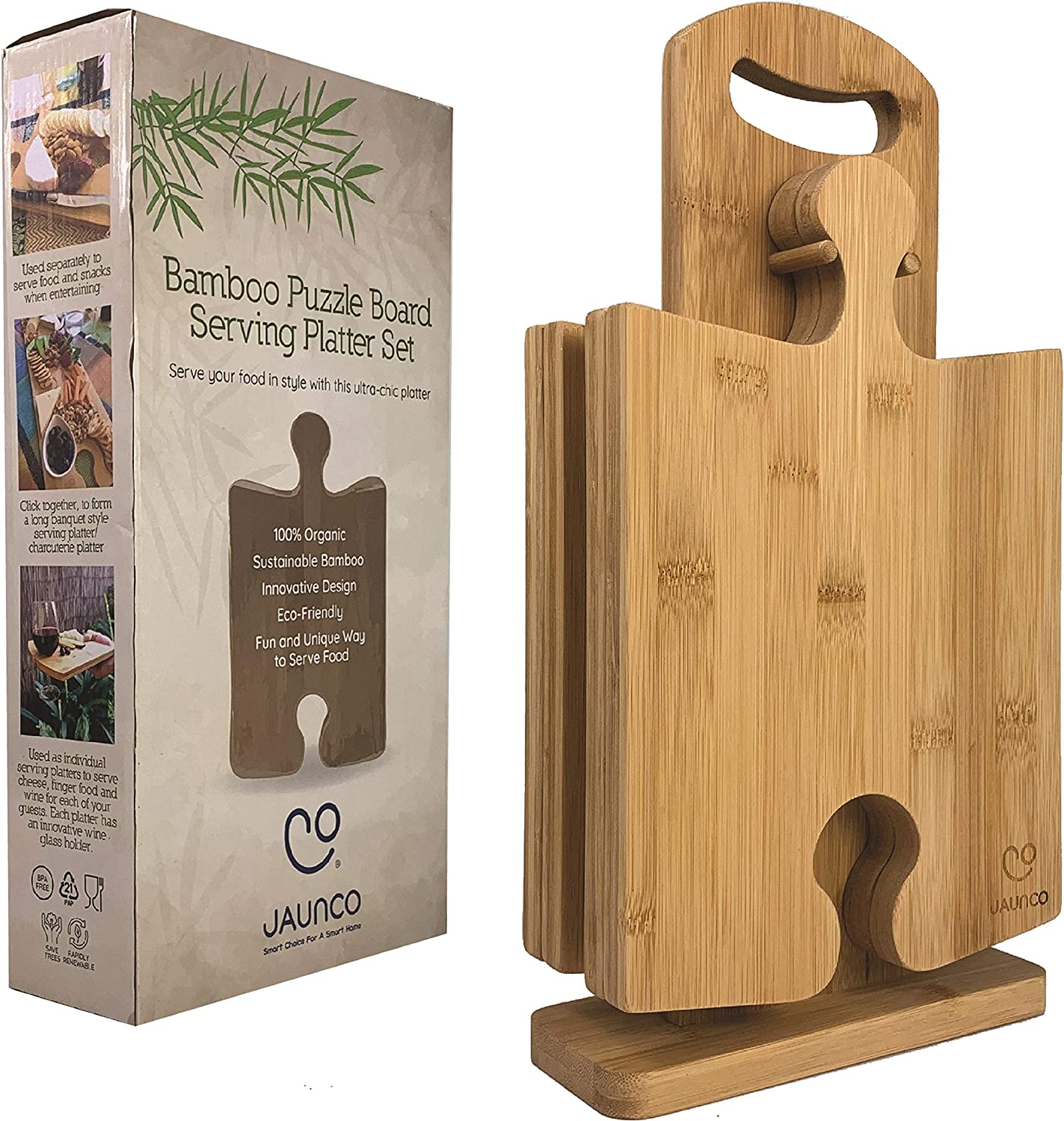 JAUNCO Premium Bamboo Cheese Board Serving Set Of 4   Large Charcuterie Boards and Serving Platter Perfect For Your Picnic Basket Wine Lover   Unique Puzzle Design With a Stand   Designed in Australia