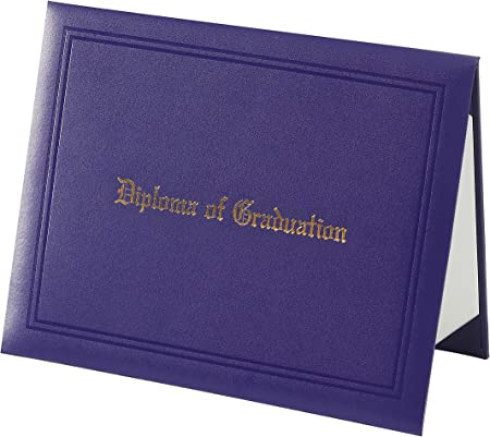 Graduatepro Diploma Cover Graduation Certificate Document Holder Padded Leather Letter Imprinted 21 5x28 Cm Purple Amazon Co Uk Office Products