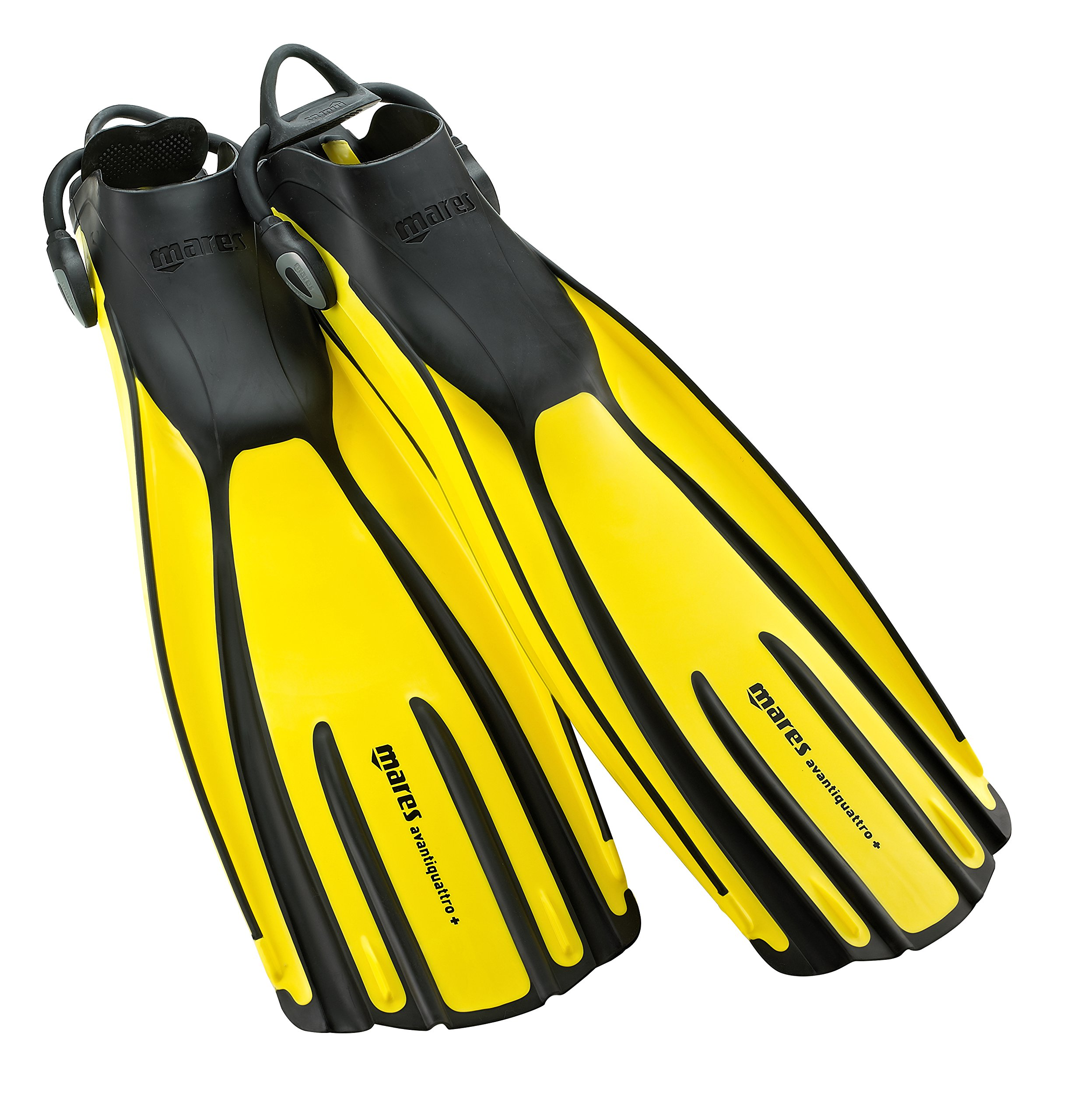 Mares Avanti Quattro Plus Open Heel Bungee Strap Fin, Yellow, X-Large by Mares