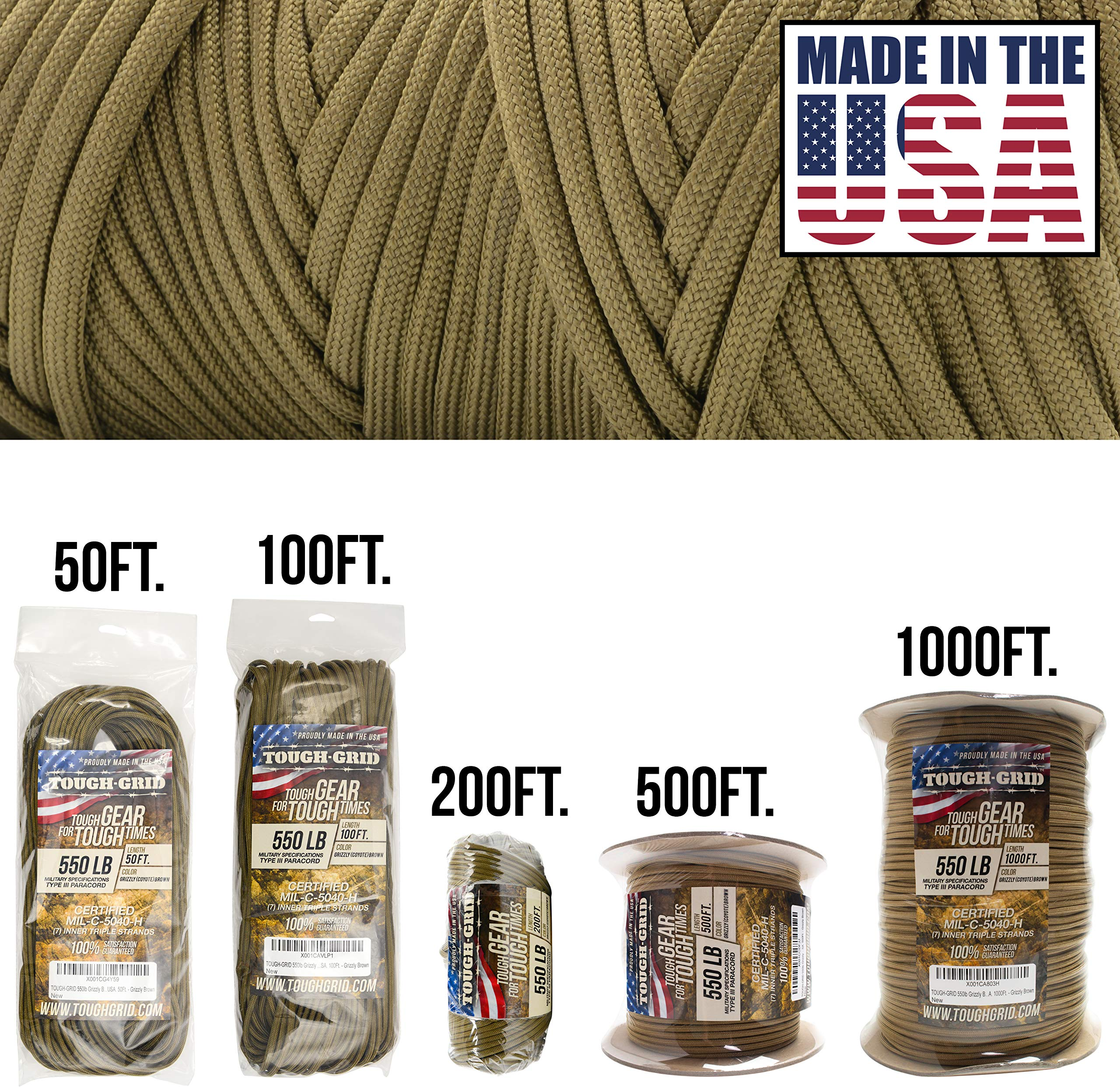 TOUGH-GRID 550lb Grizzly (Coyote) Brown Paracord/Parachute Cord - 100% Nylon Genuine Mil-Spec Type III Paracord Used by The US Military - (MIL-C-5040-H) - Made in The USA. 50Ft. - Grizzly Brown
