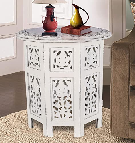 Solid Wood Hand Carved Accent Table